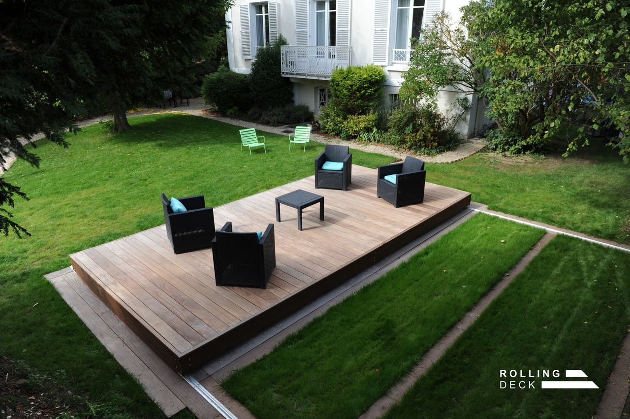 Rolling deck la couverture terrasse mobile de piscine et de spa for Couverture pour terrasse