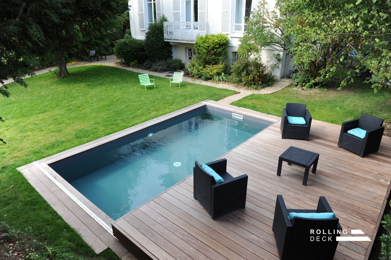 Rolling deck la couverture terrasse mobile de piscine et for Piscine terrasse mobile prix