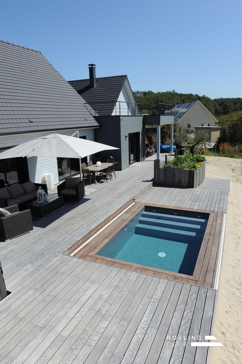 Photos d une terrasse amovible int gr e sur une mini - Fabriquer une piscine en bois ...